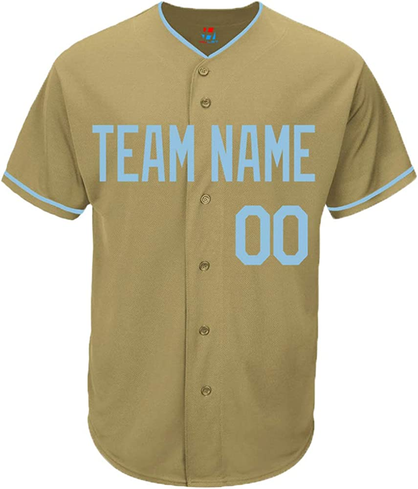 Pullonsy Gold Custom Baseball Jersey for Youth Game Embroidered Name & Numbers S-3XL - Design Your Own