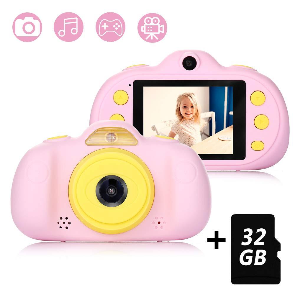 Cámara para Niños con Tarjeta TF 32GB,Cámara Digitale Selfie para Niños,Video cámara Infantil con Pantalla de 2.4 Pulgadas,HD 8MP/1080P Doble ...