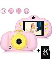Macchina Fotografica per Bambini con 32GB Carta TF Inclusa,Fotocamera Videocamera Digitale Portatile Obiettivo Doppio con Funzione Selfie,2.4 Pollici LCD,Lettore Musicale,4 Giochi,HD 8 MP/1080P