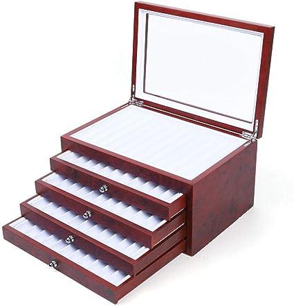 Caja organizadora de 5 capas con ventana de exhibición, pluma estilográfica, vitrina de madera, estuche para lápices, caja para 56 bolígrafos: Amazon.es: Oficina y papelería