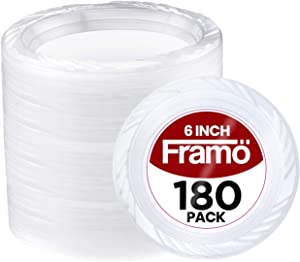 6 Inch Disposable Clear Plastic Plates In Bulk By Fnamo for Party and Dinner,And For Any Occasion, Microwaveable, Travel, and Events (180 Count)