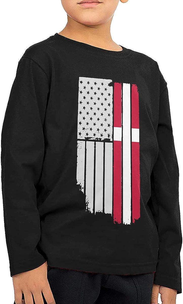 USA Vintage Denmark Flag Kids Boys Girls O-Neck Long Sleeve Shirt Tee Jersey for Toddlers