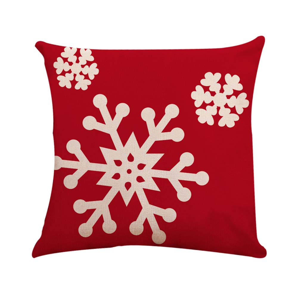 nanzhushangmao Red Merry Christmas Snowflakes Pillow case Decorative Throw Pillow Cover Home Decor 18 x 18 Inch Cotton Linen Cushion Cover for Sofa (I, 45cm x 45cm)
