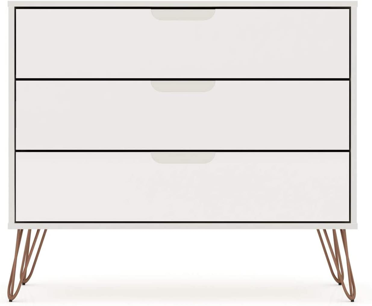 "Manhattan Comfort Rockefeller Mid-Century Modern 3 Drawer Bedroom Dresser, 35.24"", Off White"