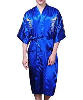 34d1f0dd153585 JTC Men's Chinese Silk Satins Dragon Night Gwon Sleepwear Embroidery  Bathrobe Night Wear 4Colors