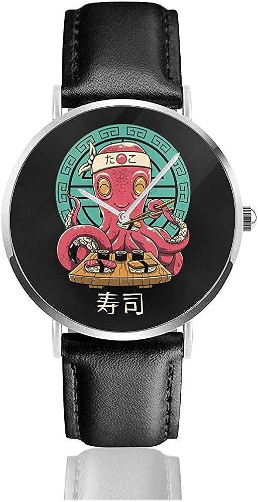 Unisex Business Casual Octo Sushi Cute Relojes Reloj de Cuero de Cuarzo