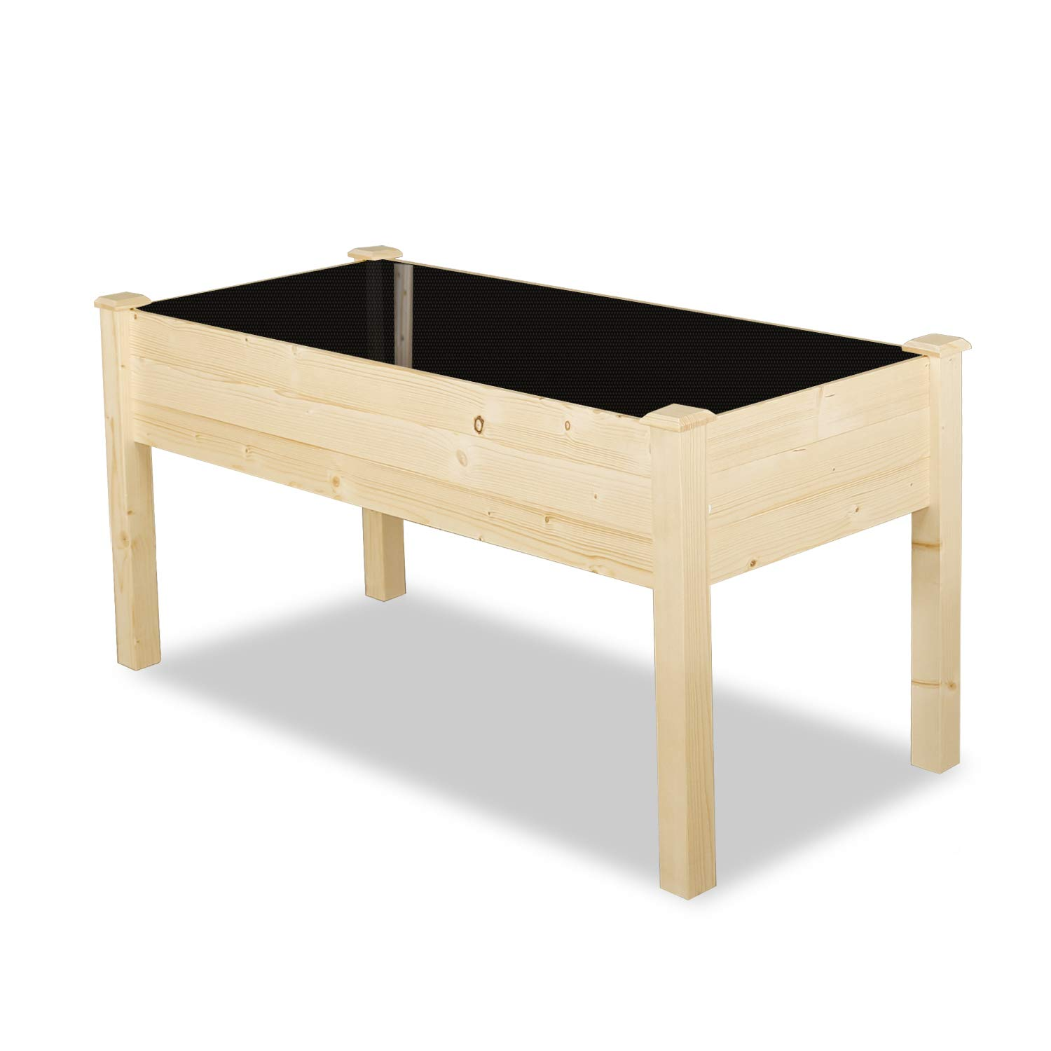 LYNSLIM Pure Wooden Raised Bed 48x22x8.6in Wood Planter Garden Bed Box for Fruit Vegetable, Easy Assembly