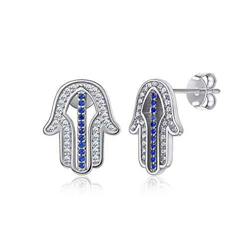 925 Sterling Silver Hamsa Hand Stud Earrings