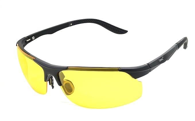LZXC Gafas de sol noche polarizadas ultraligero super resistente TR90 HD amarillo lente bisagra de resorte