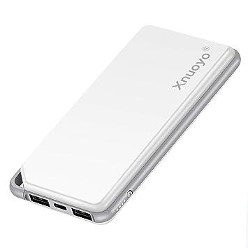 Xnuoyo Batería Externa 10000mAh Portable Power Banks Cargador Móvil Portatil con Entrada Doble(Tipo C + Micro USB) y 2 Puertos de Salida USB- Marfil ...