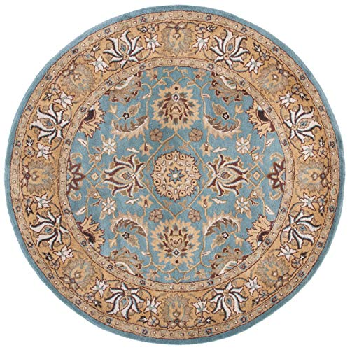 Safavieh Heritage Collection HG958A Handcrafted Traditional Oriental Blue and Gold Wool Round Area Rug (10' Diameter)