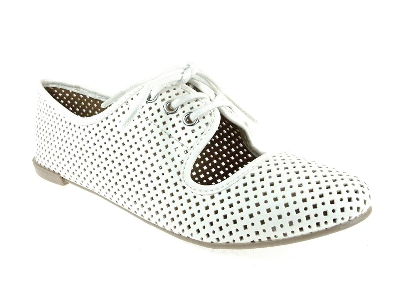 Qupid Women's Salya-747 Lace up Perforated Oxfords