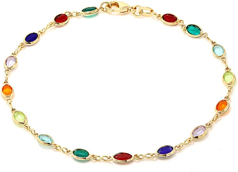 pastel gemstone bracelet gold plate chain gold chain pastel gem stone