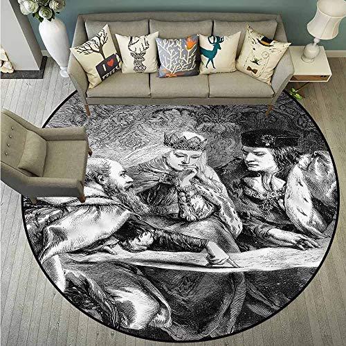 Living Room Round Rugs,Victorian,American History Theme,All Season Universal,4'3