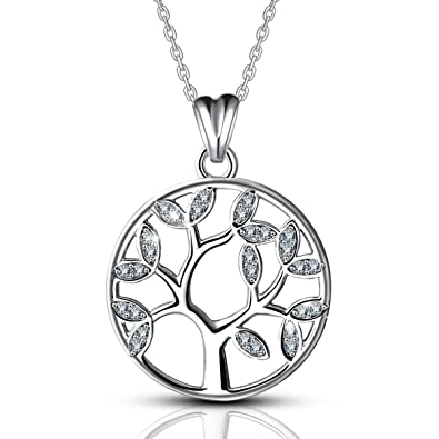 Aeonslove tree of life necklace sterling silver pendant family aeonslove tree of life necklace sterling silver pendant family tree jewellery for women 46cm mozeypictures Image collections