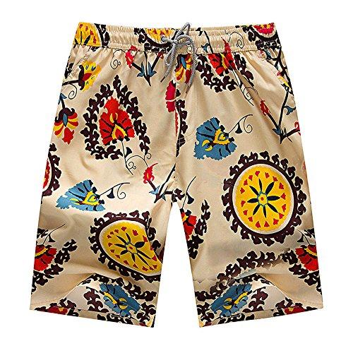 AIMY Shop Various Patterns Printing Swimwear Beach Shorts Light Brown Plus Size ()