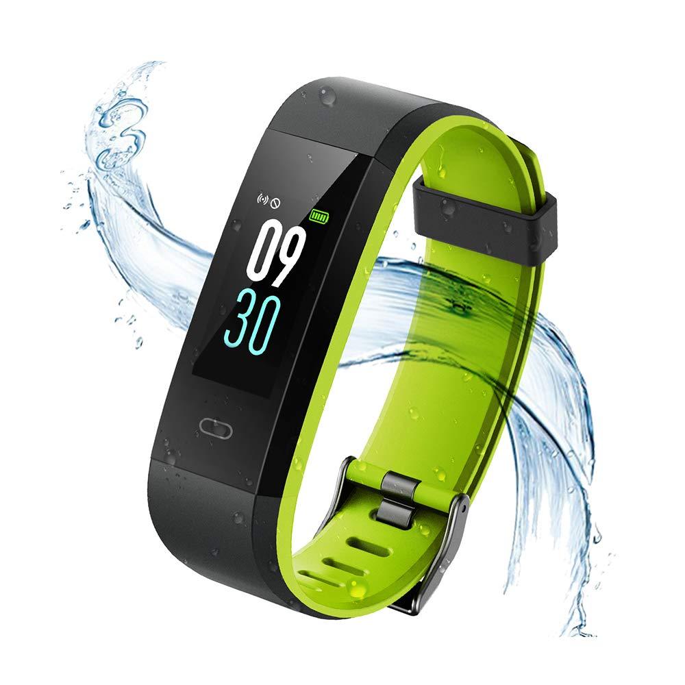 Vigorun Fitness Tracker, Tracker di attività schermo colorato con cardiofrequenzimetro, Bluetooth 4.0 IP68 Impermeabile Smart Wristband Pedometro con allarme / Calorie / Monitoraggio del sonno, per Android e iOS (Nero + Grigio) hui115c