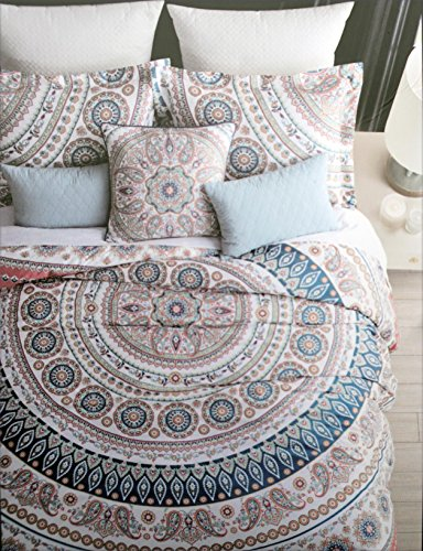 Tan Medallion - Kensie Bedding 3 Piece Full / Queen Duvet Cover Set Red Blue Gray Yellow Tan Medallion Pattern on White