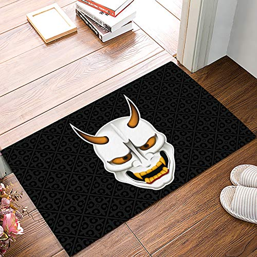 SIGOUYI Entrance Door Mat Low Profile Rubber Non-Slip Welcome Front Floor Rug, Shoe Scraper Runner Doormats for Entry Way/Indoor/Kitchen - 23.6 x 15.7 Inch Halloween Japanese Ghost -