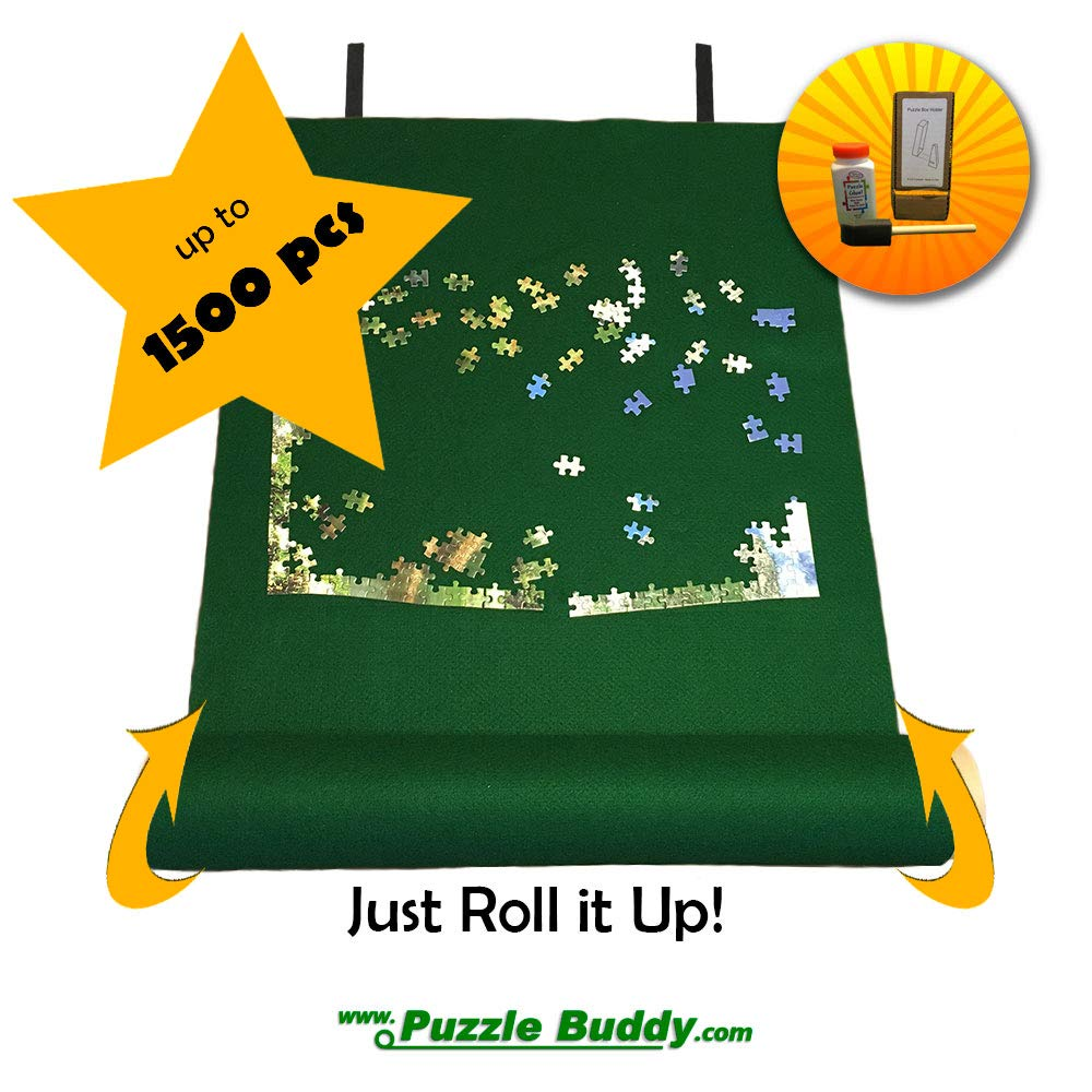 Puzzle Buddy Jigsaw Puzzle Roll Up Felt Mat | Securely Store Transport Unfinished Puzzles Includes Box Stand and Glue Kit Perfect for Grandparents Grandkids and Puzzle Enthusiasts | Made In the USA Storage Kit For Puzzles Up To 1500 Pieces 42 x 24