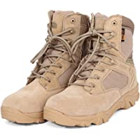 elegantstunning Leather Ankle-high Military Tactical Boots Waterproof Hiking Boots Army Combat Comp Toe Side Zip Work Boots for Men