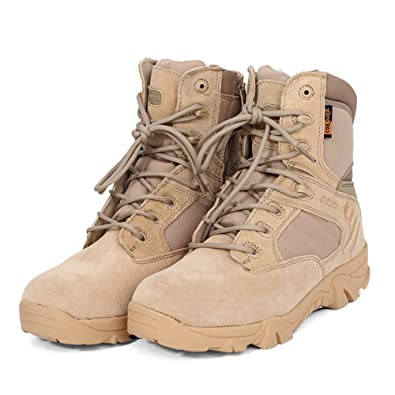 5278f900c17 Cibeat Military Boots Leather Ankle-high Military Tactical Boots Waterproof  Hiking Boots Army Combat Comp Toe Side Zip Work Boots for Men