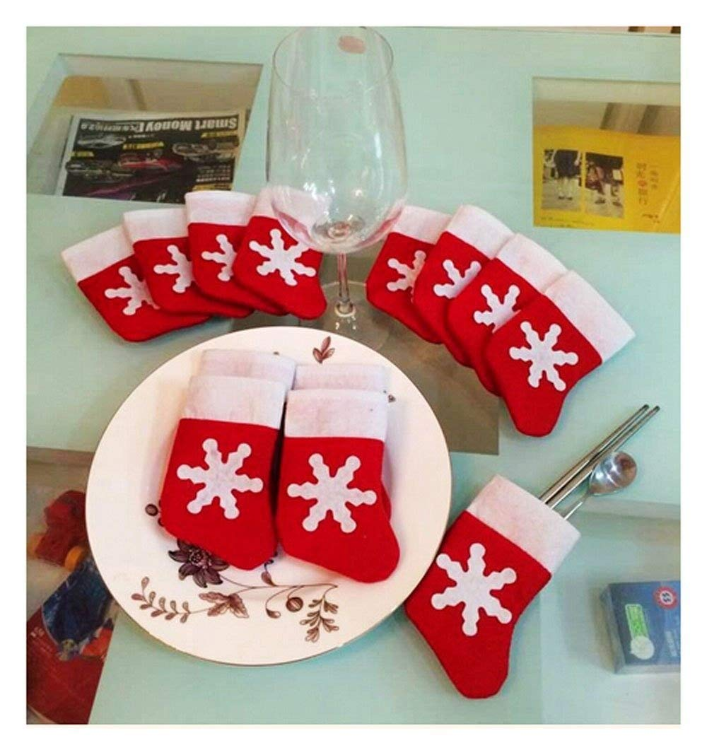 12pcs Mini Christmas Stocking Dinnerware Cover Xmas tree decorations