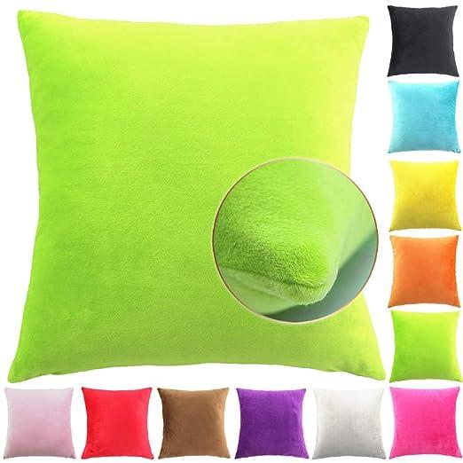 Easondea Fundas de Cojín de Color sólido Square Decorativos para Sofá Cama Coche Fundas Cojines Funda de Almohada Verde 30X45CM
