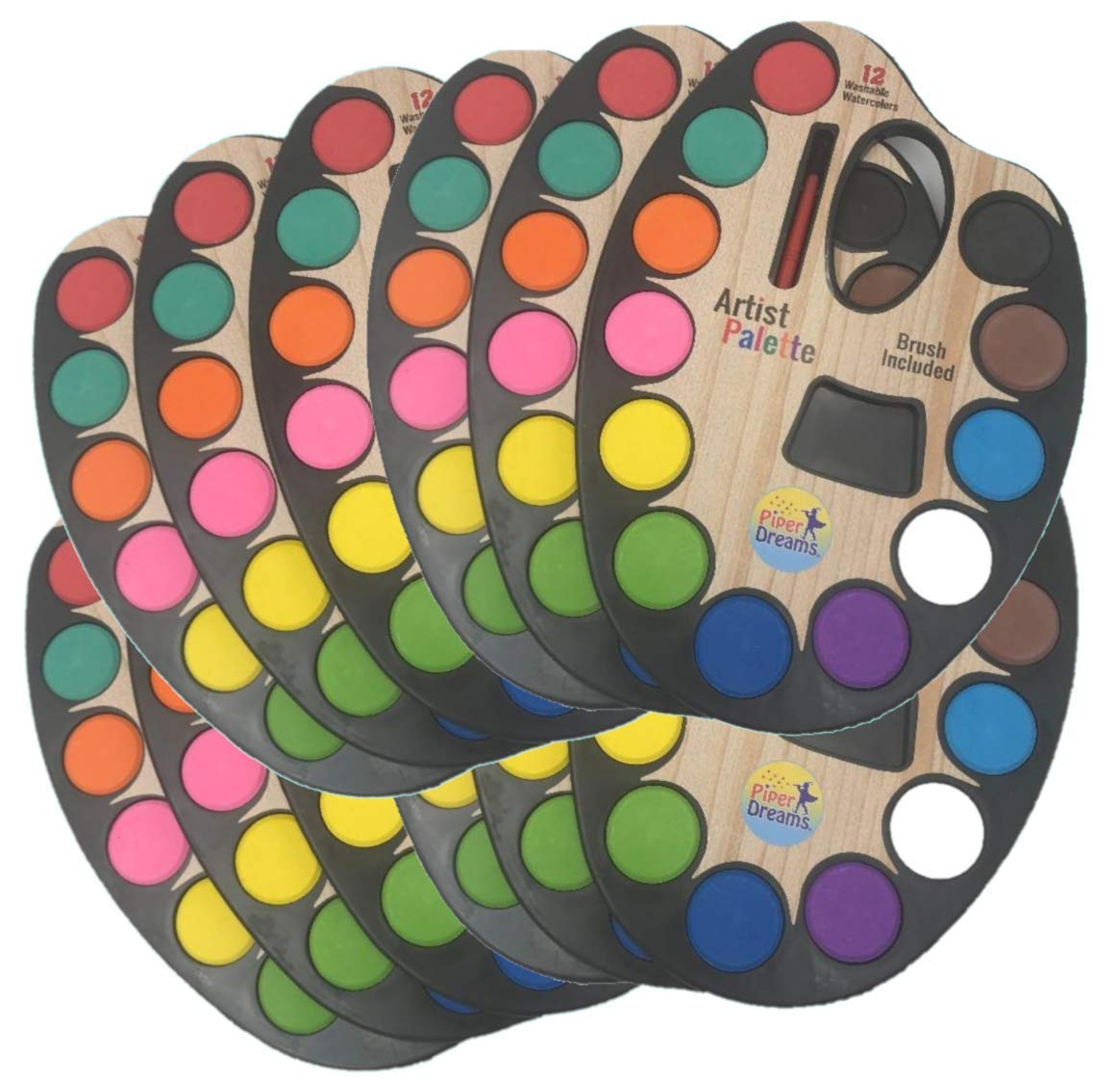 12 Pack - Watercolor Paint Set - Each Palette Contains 12 Different Vibrant Colors, a Paint Brush and a Mixing Pan built into the Palette