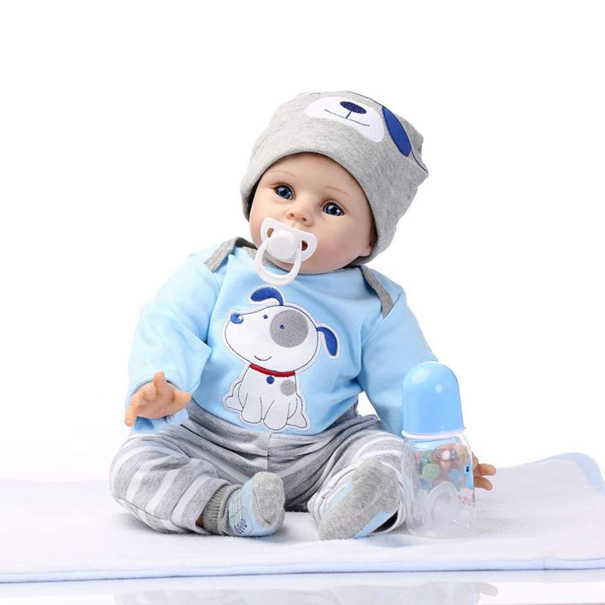 ZIYIUI Lifelike 22 inch 55cm Reborn Baby Doll Boy Handmade Soft Silicone Vinyl Magnetic Mouth Dummy and Doll Clothes Newborn Xmas Gift