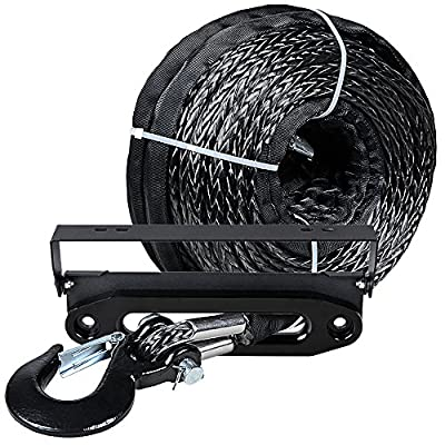 """Astra Depot GRAY 95ft x 3/8 20500LBs Synthetic Winch Rope Cable w/Black Hook + 10"""" Anodized Black Hawse Fairlead + 4 Mounting Hole 254mm Flip-Up License Plate Holder Kit"""