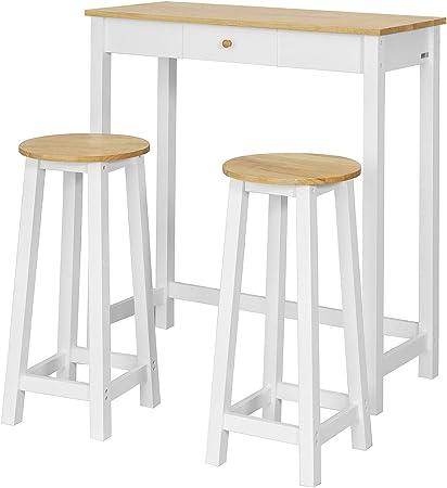 SoBuy Set de 1 Mesa y 2 taburetes Mesa Alta de Bar y 2 taburetes Mesa Comedor FWT50-WN ES
