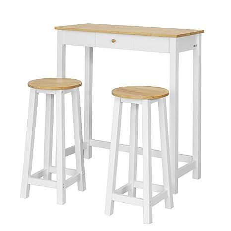 Tavoli E Sgabelli Alti Da Bar.Sobuy Consolle Tavolo Alto Bar Con 2 Sgabelli Penisola Cucina Mobile Piano In Legno Di Hevea A107 Cm Fwt50 Wn