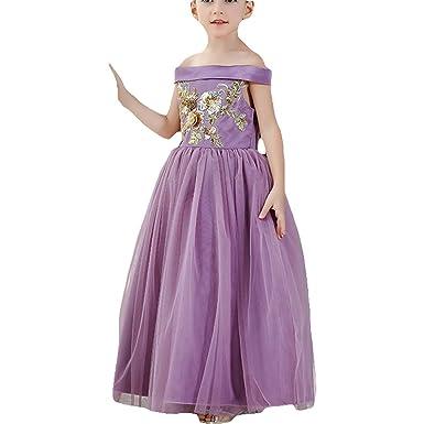 458338b0a3e5 Amazon.com  Girls Flower Long Dress Princess Pageant Maxi Dress Prom ...