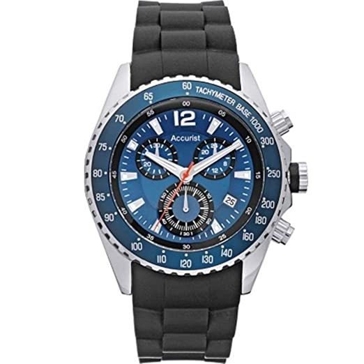 3fc3ca71d Accurist Mens Quartz Watch With Blue Dial Analogue Chronograph Display And  Black Silicon Strap MS710N: Amazon.co.uk: Watches