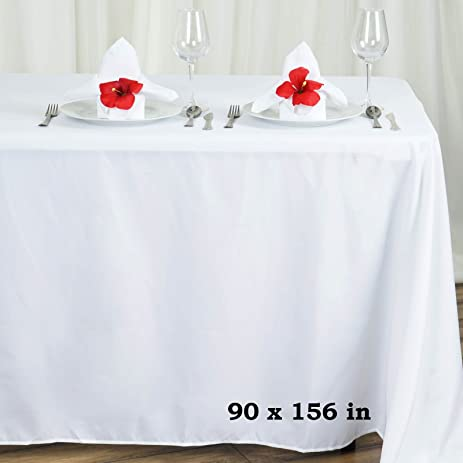 Efavormart White 90x156 Polyester Rectangle Tablecloths