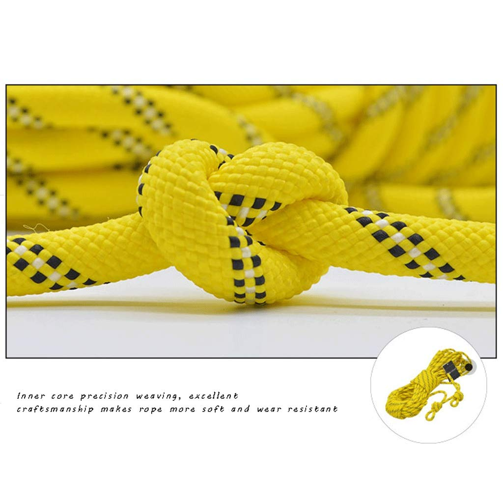 MLM clbrp Outdoor Climbing Rope, Extreme ice Climbing Rope, Outdoor Camping Safety Rope, Lifeline, Aerial Work Safety Rope Clothesline, (Color : Yellow, Size : 10m) by MLM clbrp