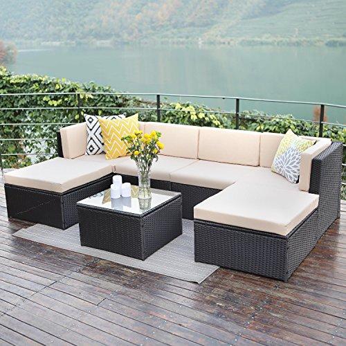 Outdoor patio furniture sets,Wisteria Lane 7 PC Wicker Sofa Set Garden Rattan Sofa Cushioned Seat with Coffee Table,Black