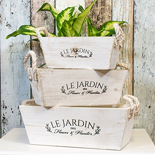 Set of 3 Assorted Vintage French Wooden Plant Pots/Troughs ProdBuy Limited