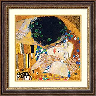 "Framed Art Print, 'The Kiss (Der Kuss), detail 1' by Gustav Klimt: Outer Size 29 x 29"" (B008PM2PDA) 