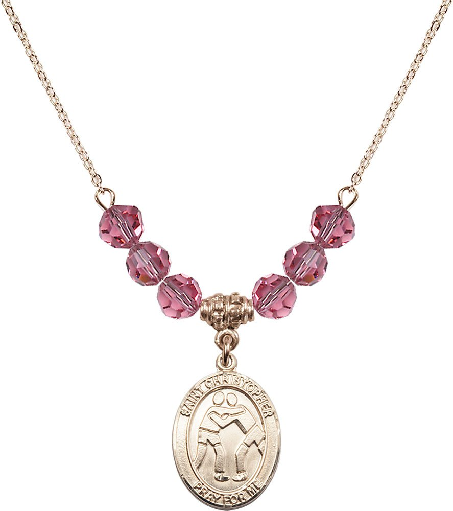 18-Inch Hamilton Gold Plated Necklace with 6mm Rose Birthstone Beads and Gold Filled Saint Christopher/Wrestling Charm. by F A Dumont
