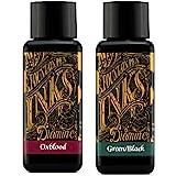 Diamine Fountain Pen Ink 30ml Oxblood & Green Black 2 Pack