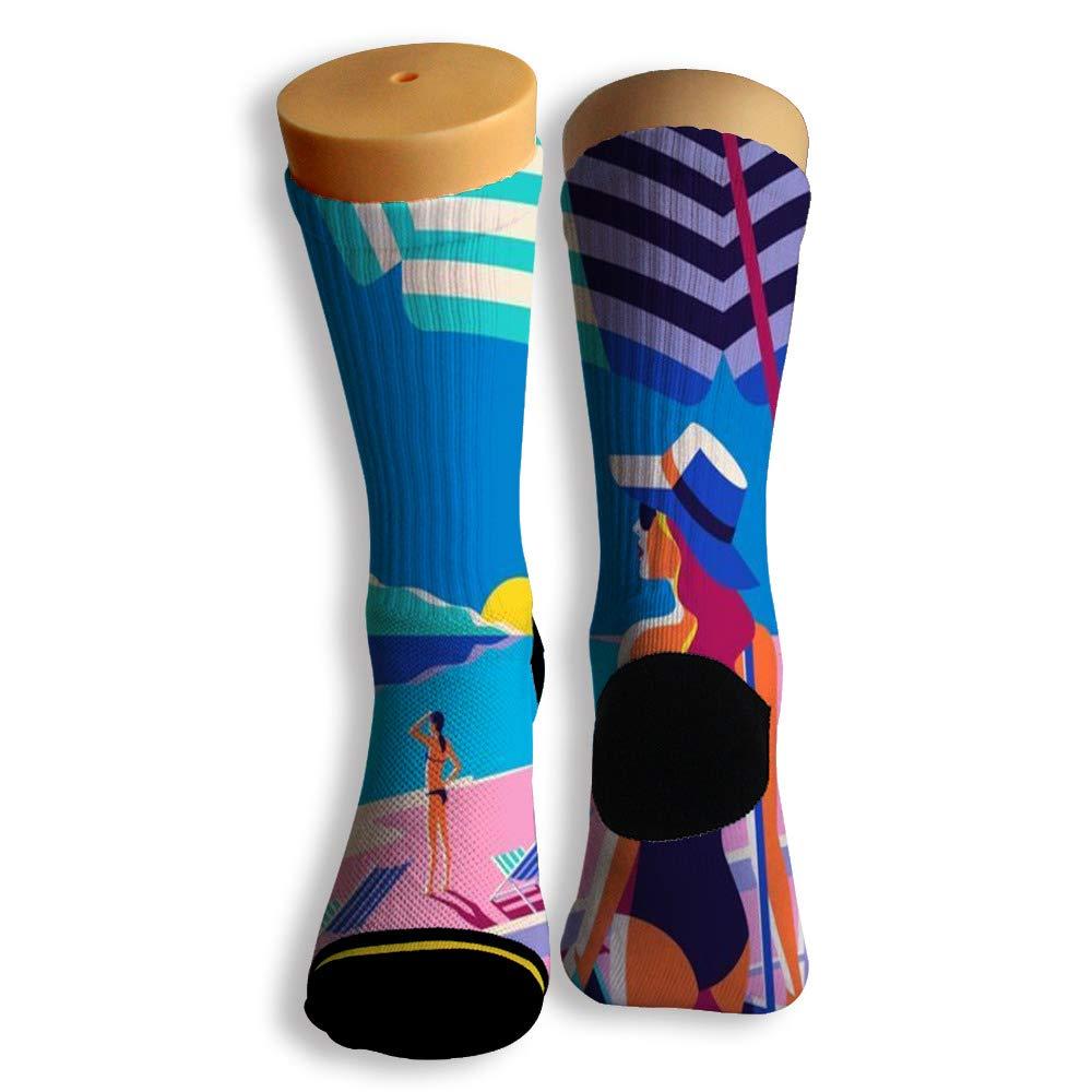 Basketball Soccer Baseball Socks by Potooy Swimming day Doodle 3D Print Cushion Athletic Crew Socks for Men Women