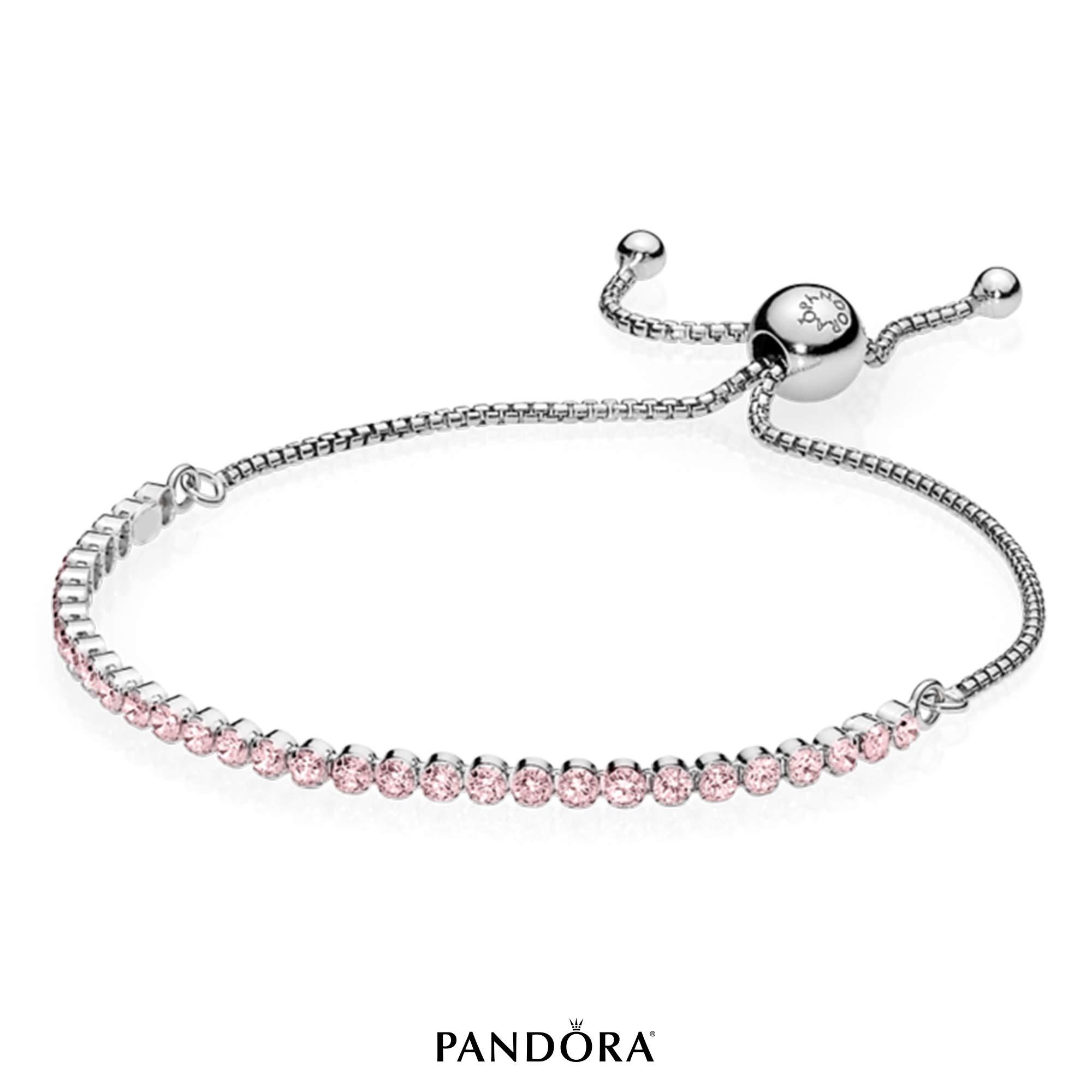 PANDORA Sparkling Strand Bracelet, Sterling Silver, Pink Cubic Zirconia, 9.9 in by PANDORA