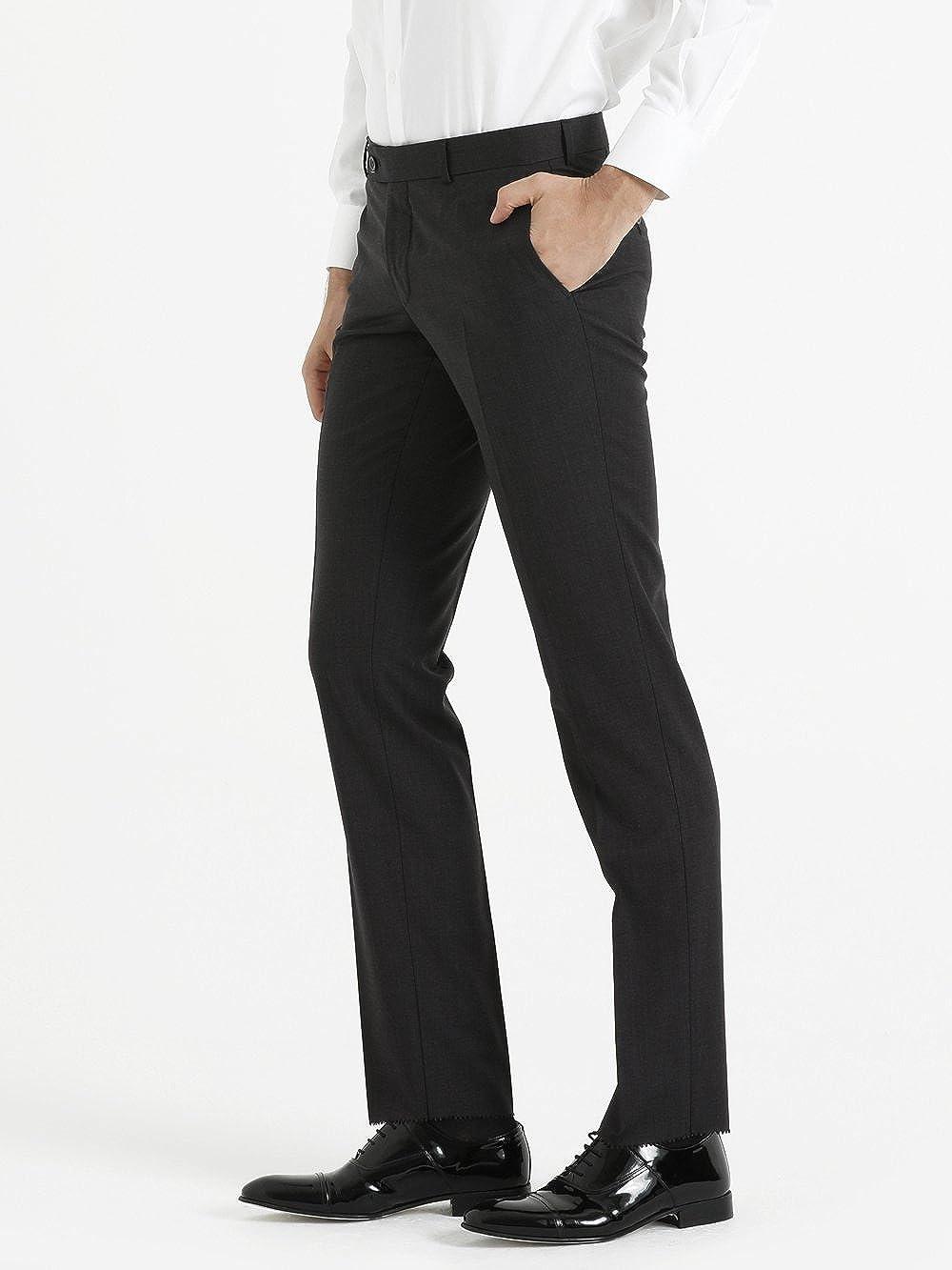 SAYKI Slim Fit Wool Blue Pants