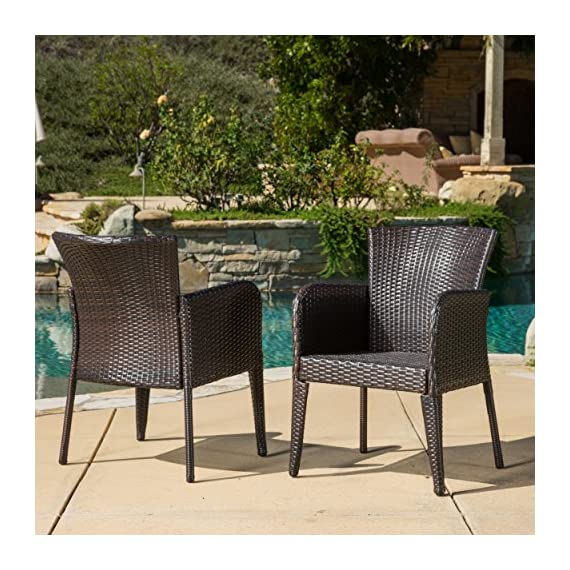 "Christopher Knight Home Great Deal Furniture | Delgado 7-Piece Outdoor Dining Set | Wood Table w/Wicker Chairs | in Multibrown - Includes: One (1) Table and Six (6) Chairs Table Finish: Natural Stained | Table Leg Finish: Rustic Metal | Chair Color: Multibrown | Table Material: Acacia Wood Table Dimensions: 32.25""D x 69.00""W x 29.50""H 