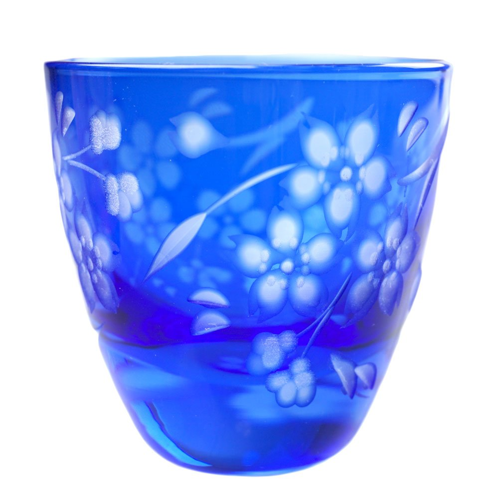 Sakura Cherry Blossoms Design Guinomi Sake Cup 2.5oz Shot Glass Edo Kiriko Design Cut Glass - Blue [Japanese Crafts Sakura]
