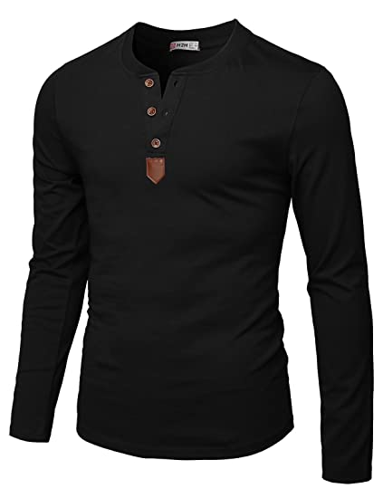 418352d48be H2H Mens Casual Slim Fit Henley T-Shirt Long Sleeve of Various Styles