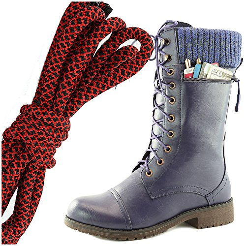 DailyShoes Womens Combat Style Lace up Ankle Bootie Round Toe Military Knit Credit Card Knife Money Wallet Pocket Boots, Red Black Purple Pu