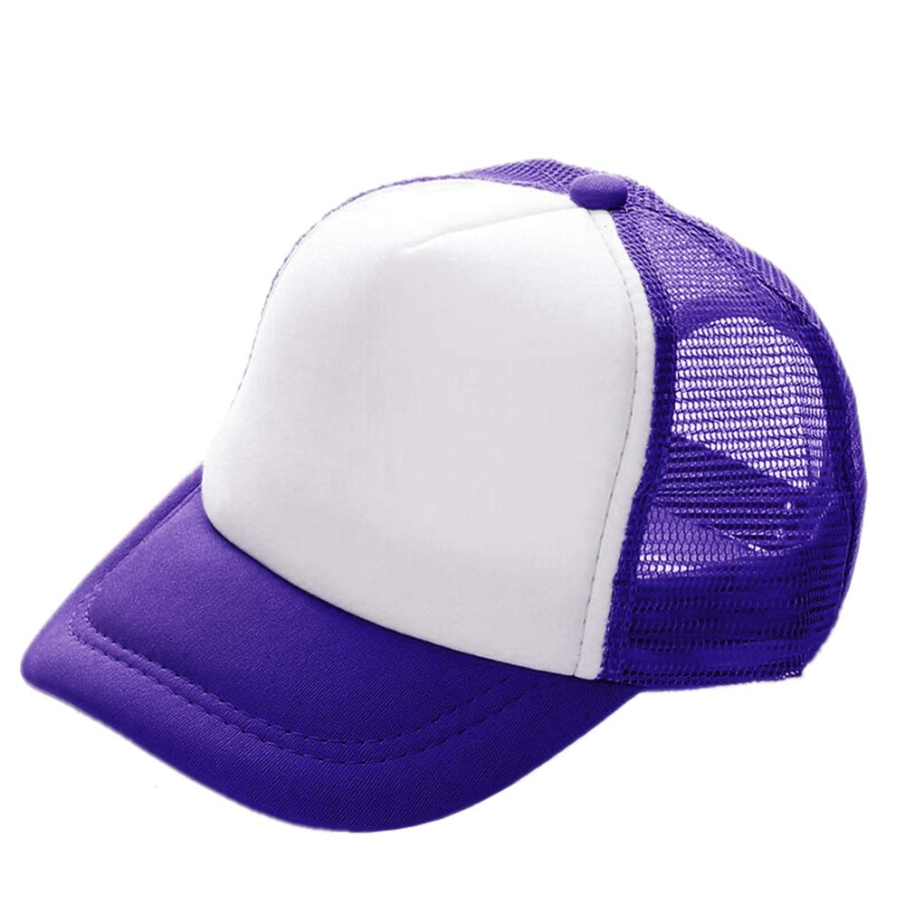 Opromo Kids Two Tone Mesh Curved Bill Trucker Cap, Adjustable Snapback, 14 Colors-Purple/White-48 Pieces